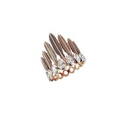 Kismet by Milka 14ct rose gold feather eight pear diamond ring