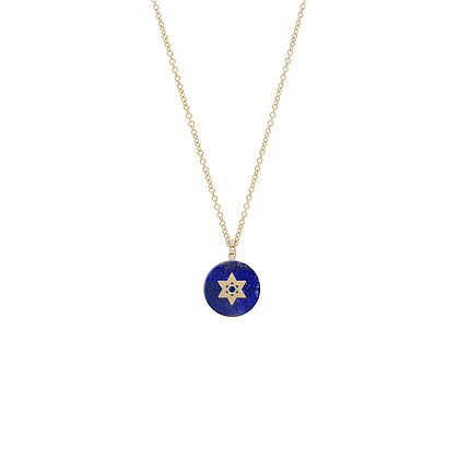Noush 14ct gold and lapis star of David necklace