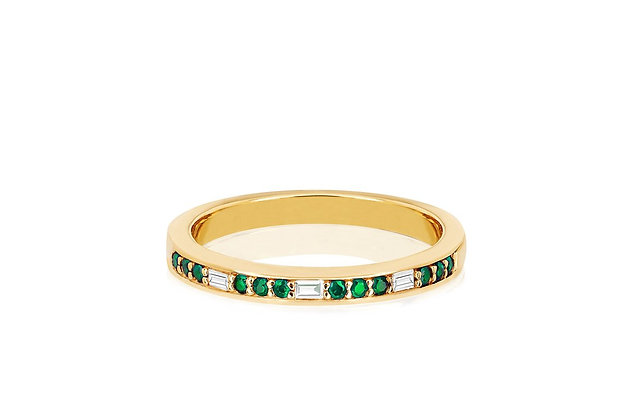 EF Collection 14ct gold and baguette diamond and emerald eternity ring