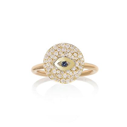 Noush 14ct gold, sapphire and diamond evil eye ring