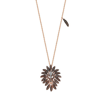 Kismet by Milka 14ct rose gold and diamond small lion necklace