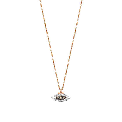 Kismet by Milka 14ct rose gold and champagne diamond evil eye necklace