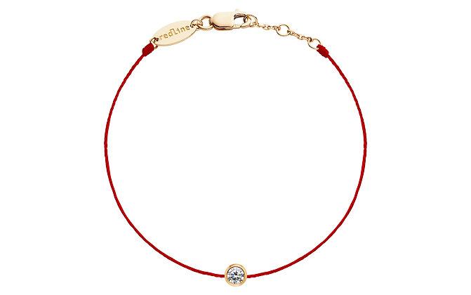 Redline 18ct rose gold and diamond pure red thread bracelet