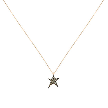 Kismet by Milka 14ct rose gold and champagne diamond struck star necklace