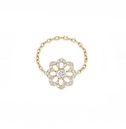 Noush 14ct gold and diamond 'Fleur du ciel' chain ring