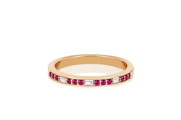 EF Collection 14ct rose gold and baguette diamond and ruby eternity ring