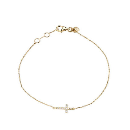 Sydney Evan 14ct gold and diamond cross bracelet
