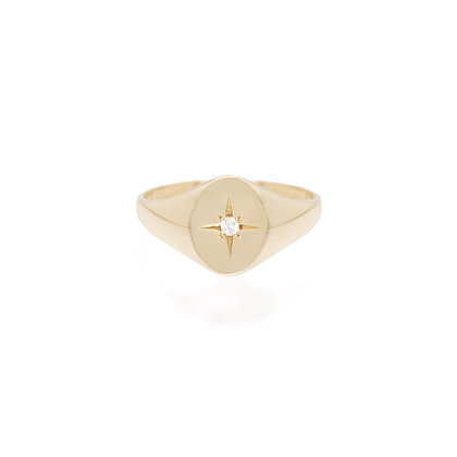 Zoe Chicco 14ct gold and diamond oval signet pinky ring