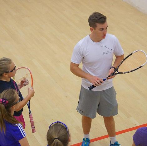 Matt Davies coaching squash