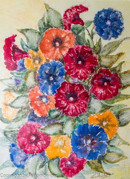 Blumen in rot-blau
