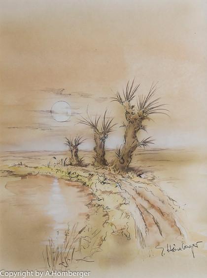 Baumgruppe im Mondlicht