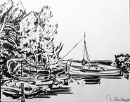 Boote schwarz-weiß