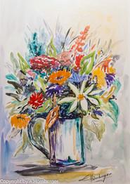 Bierkrug mit Blumen