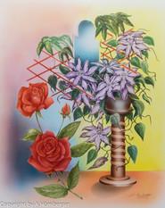 Rosen mit Clematis