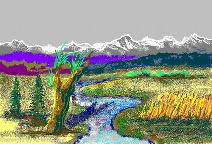 Berglandschaft mit Bach