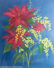 Weihnachtsstern mit Mimosen