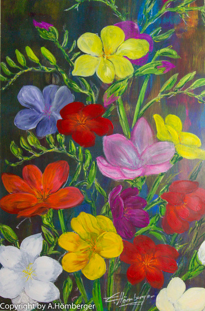Blumenstrauß auf dunklem Grund