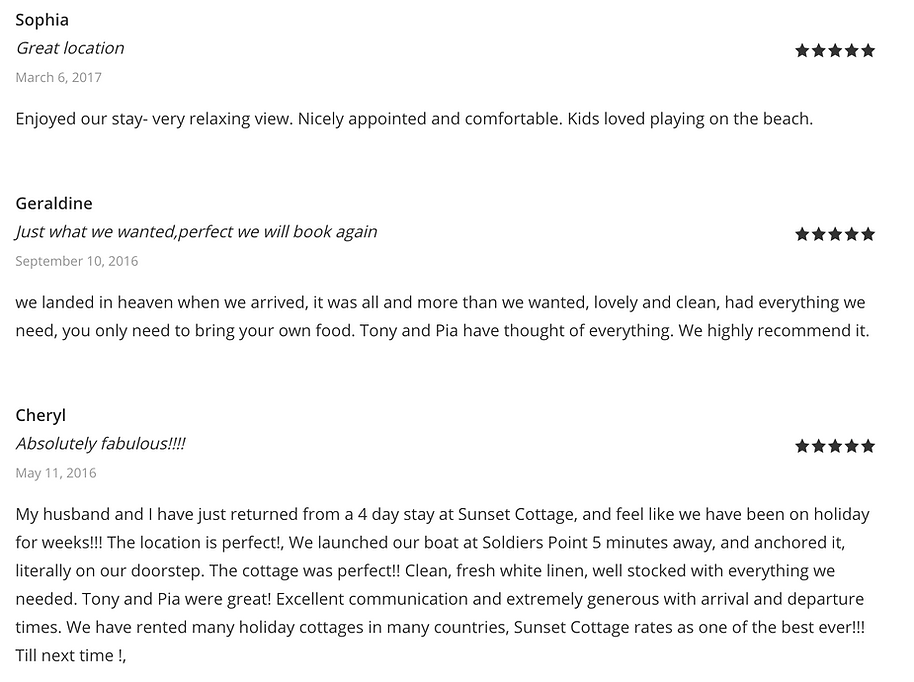 Sunset Cottage Reviews