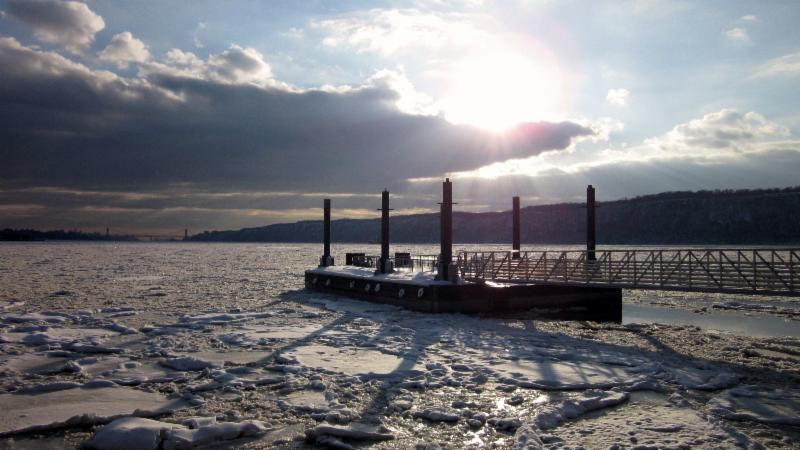 Winter Ice on Hudson River