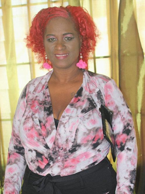 Pink/Black Tie dye Body Suit