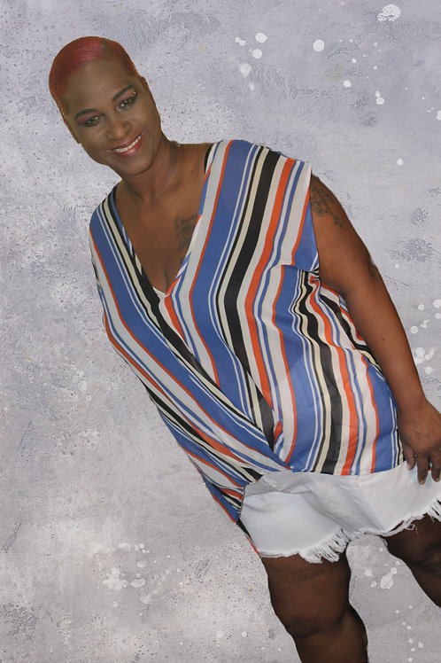 Blue & White Stripe Top