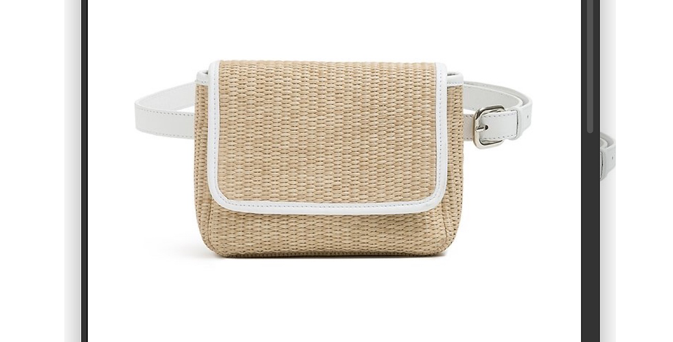 White Raffia Belt Bag