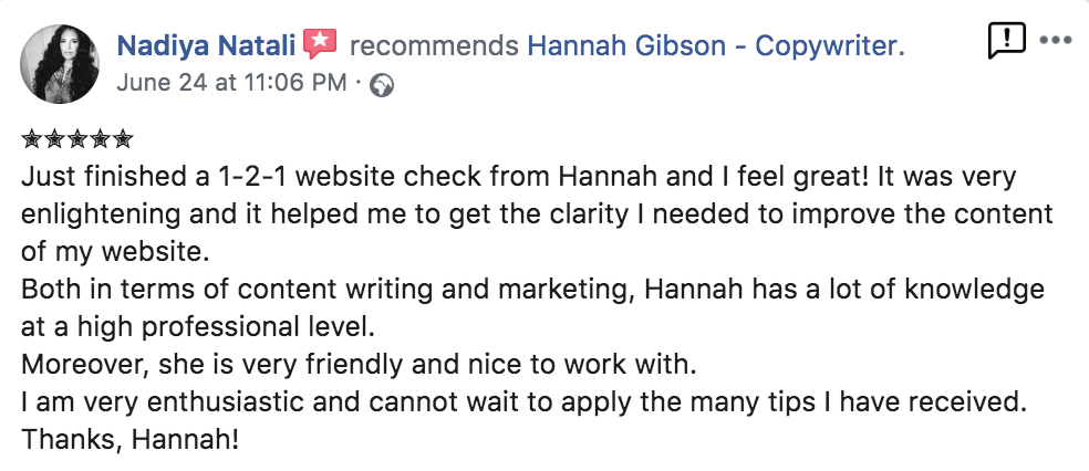 Hannah Gibson website copywriter