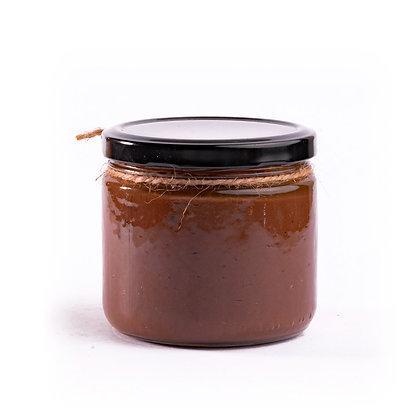Crema de cacahuate con cacao y miel de agave