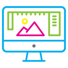Computer monitor outlined in bright colors