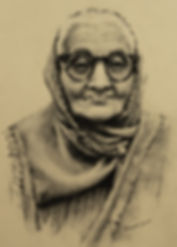 Charcoal drawing of older Indian woman