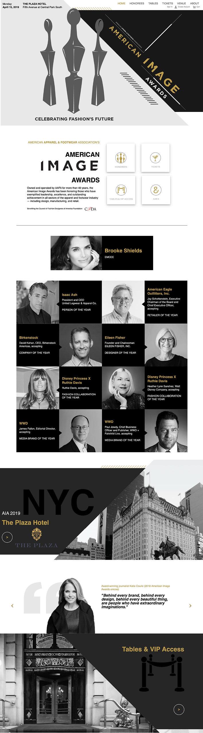 American Image Awards website design