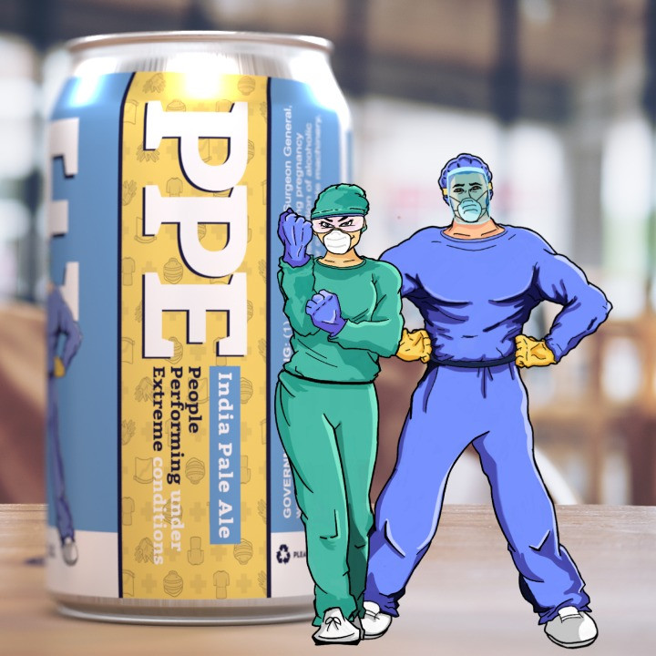 PPE Beer can and health heroes illustration