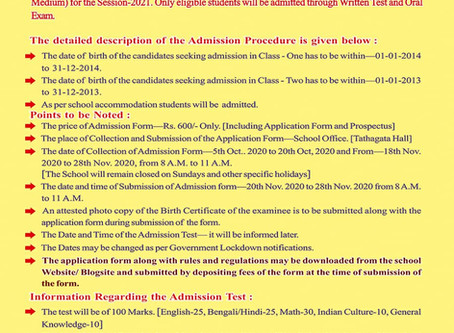 Notice For Admission In (English Medium) For The Session -2021