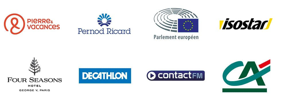 Nous travaillons avec des partenaires comme Pierre & vacances, Decathlon, Crédit agricole, Ricard, Parlement européen.