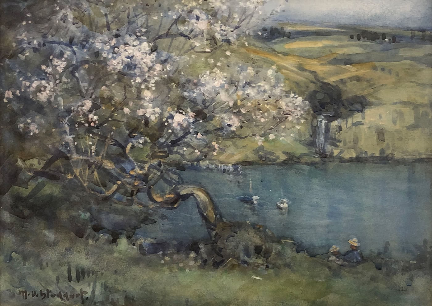 blossoms in Diamond Harbour painting