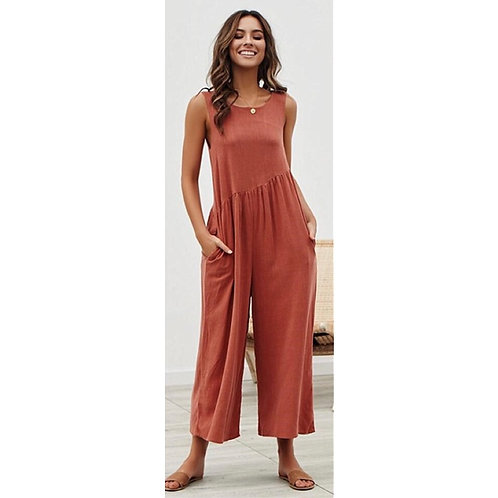 Red Straight Away Jumpsuit