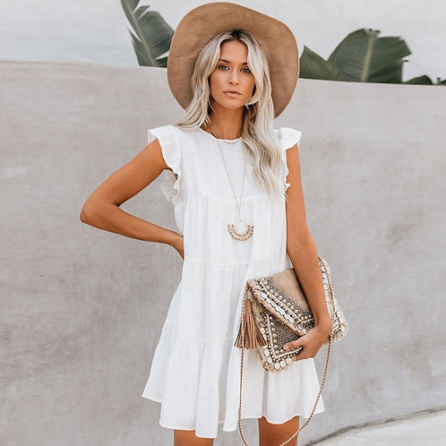All In White Ruffle Dress