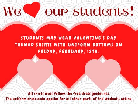 Wear Valentine Shirts on Friday!