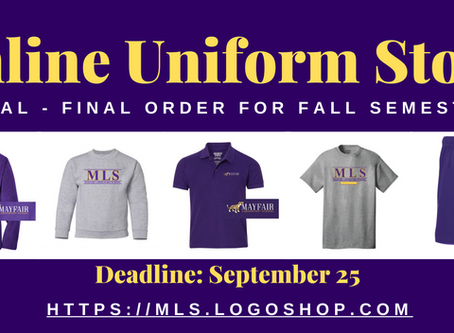 Uniforms for Pickup & Online Store Final, Final Call