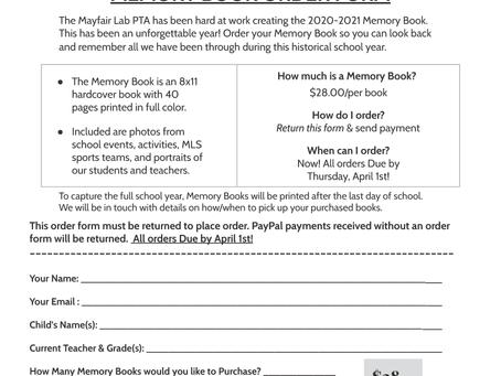 Memory Book Order Form