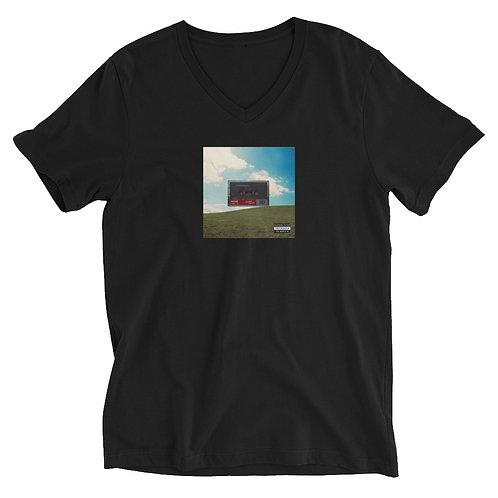 Women's Graphic Cassette Tape V-Neck T-Shirt | White + Black