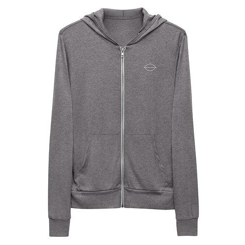 Men's Handpan Zip-up Hoodie | Grey + Charcoal Black