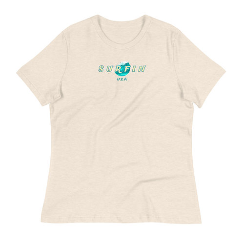 Women's Surfing' USA Relaxed T-Shirt | White + Natural