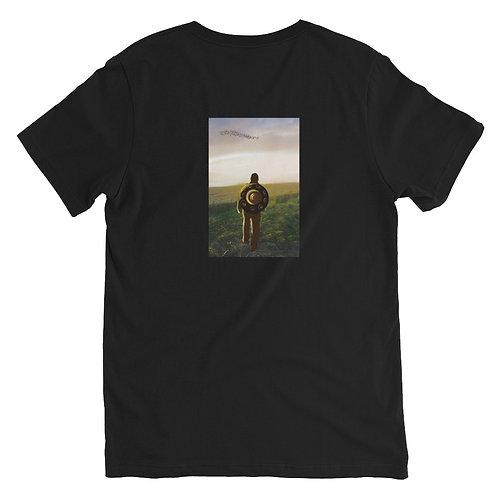 Women's Handpan V- Neck T-shirt Back Design   Black