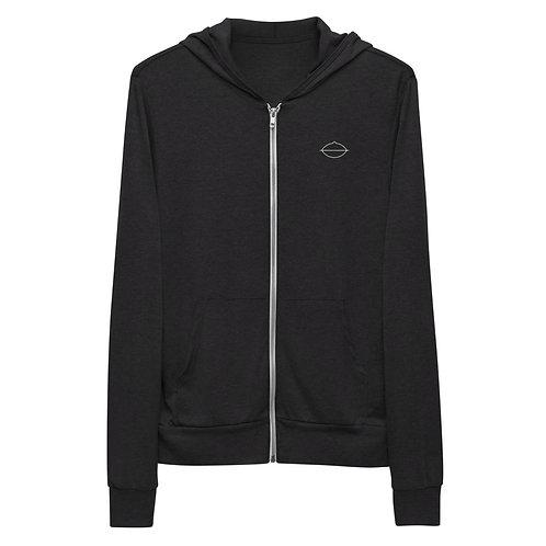 Women's Handpan Zip-up Hoodie | Charcoal Black + Grey
