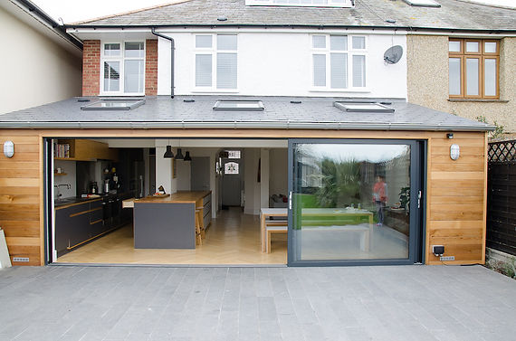 Patio sliding Bi-Folding Doors Aluminium Modern Contemporay Folding door tri-folding burgess hill haywards heath sussex FENSA Grey
