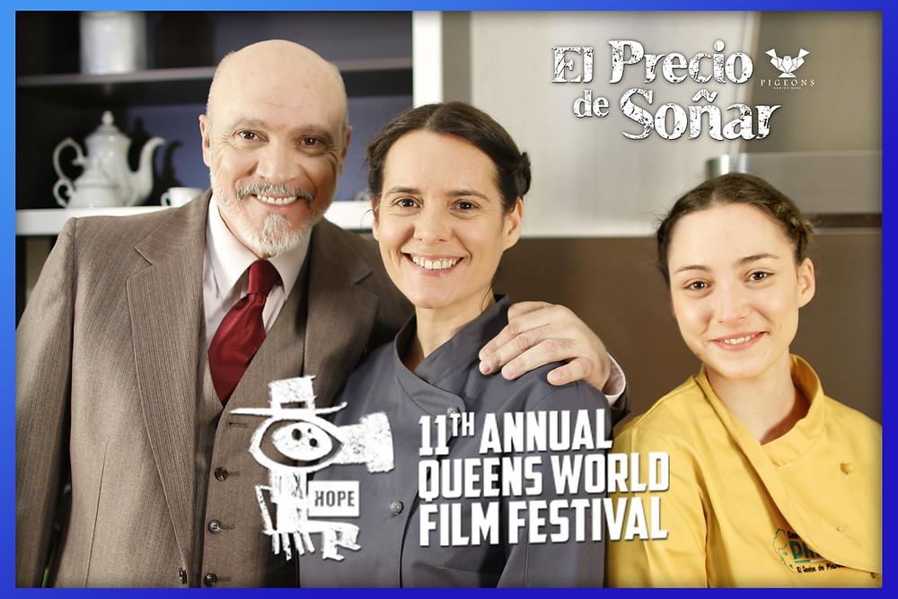 Los protagonistas de 'El Precio de Soñar'. De izda. a dcha.: Juan Fernández (Comprador de Sueños), Eva Santolaria (Pera) y María M. Hoyas (Pera adolescente).