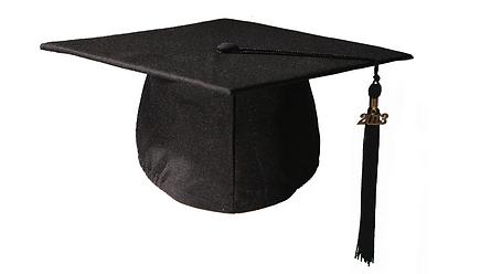 chapeau de diplome noir mat