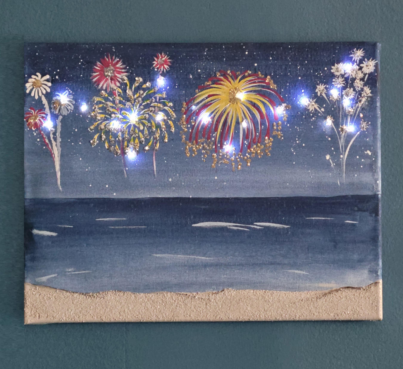 Pleasure Island Lighted Fireworks Canvas