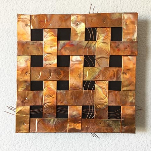 "Copper weaving 13.5""x13.5""x2"""